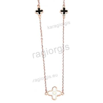 Κολιέ rose gold σε ροζ χρυσό Κ14 με περιμετρικά σταυρουδάκια με άσπρο και μαύρο σμάλτο