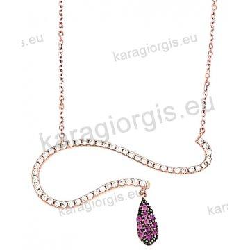 Κολιέ rose gold σε ροζ χρυσό Κ14 με άσπρες και φούξια πέτρες ζιργκόν σε ελικοειδές σχήμα.
