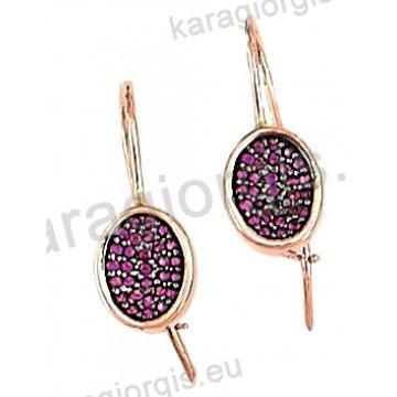 Σκουλαρίκι οβάλ rose gold σε ροζ χρυσό Κ14 κρεμαστό με γάντζο με φόυξια πέτρες ζιργκόν.