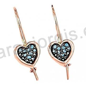 Σκουλαρίκι καρδιά rose gold σε ροζ χρυσό Κ14 κρεμαστό με γάντζο με σιέλ πέτρες ζιργκόν και μαύρο χρυσό.