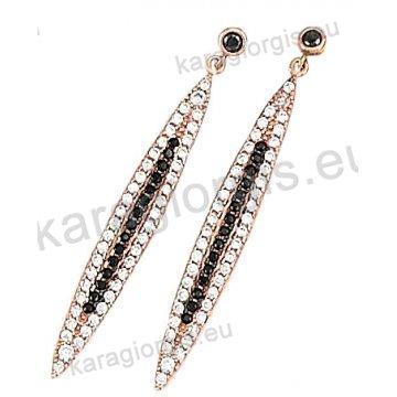 Σκουλαρίκι μακρύ rose gold σε ροζ χρυσό Κ14 με μαύρες και άσπρες πέτρες ζιργκόν.