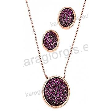 Σετ rose gold σε ροζ χρυσό Κ14 με κολιέ, σκουλαρίκια σε οβαλ ροζέτα με φούξια πέτρες ζιργκόν.