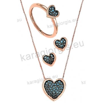 Σετ rose gold σε ροζ χρυσό Κ14 με κολιέ, σκουλαρίκια, δαχτυλίδι σε καρδιά με σιέλ πέτρες ζιργκόν και μαύρο χρυσό.