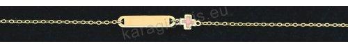 Παιδική ταυτότητα για κοριτσάκι χρυσή Κ14 με σταυρουδάκι σε ροζ σμάλτο.