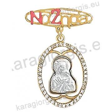 Παιδική παραμάνα Να Ζήσει για κορίτσι οβάλ Κ14 με ανάγλυφη Παναγίτσα με Χριστό και άσπρες πέτρες ζιργκόν.