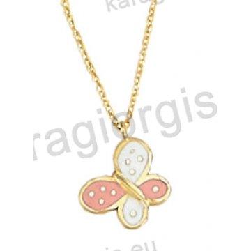 Παιδικό κολιεδάκι χρυσό Κ14 με κρεμαστή πεταλούδα σε ροζ και άσπρο σμάλτο.