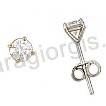 Σκουλαρίκι χρυσό ή λευκόχρυσο σε μονόπετρο Κ14 με πέτρα ζιργκόν.