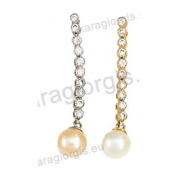 Σκουλαρίκι κρεμαστό χρυσό ή λευκόχρυσο Κ14 με άσπρες πέτρες ζιργκόν και πέρλα.