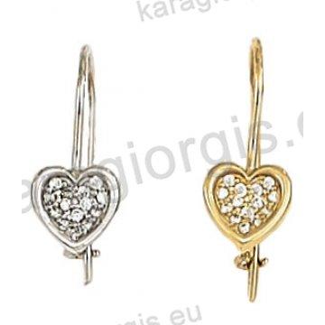 Σκουλαρίκι κρεμαστό χρυσό ή λευκόχρυσο Κ14 σε καρδιά με άσπρες πέτρες ζιργκόν.