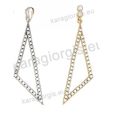 Σκουλαρίκι κρεμαστό χρυσό ή λευκόχρυσο Κ14 με άσπρες πέτρες ζιργκόν.