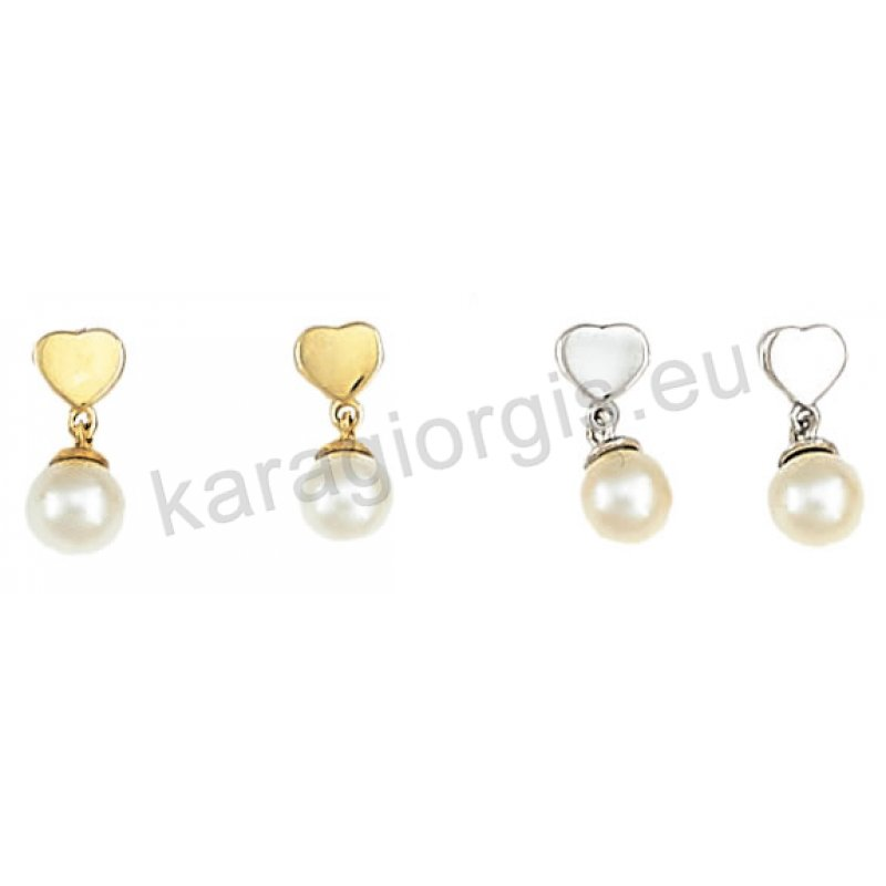Σκουλαρίκι ημι κρεμαστό χρυσό ή λευκόχρυσο σε καρδιά Κ14 με άσπρη πέρλα. adeb0dbad17