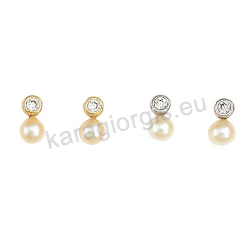 Σκουλαρίκι ημι κρεμαστό χρυσό ή λευκόχρυσο σε μονόπετρο Κ14 με κρεμαστή  άσπρη πέρλα. 5627a39b0b6