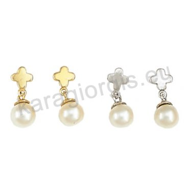 Σκουλαρίκι ημι κρεμαστό χρυσό ή λευκόχρυσο σε σταυρουδάκι Κ14 με άσπρη πέρλα.