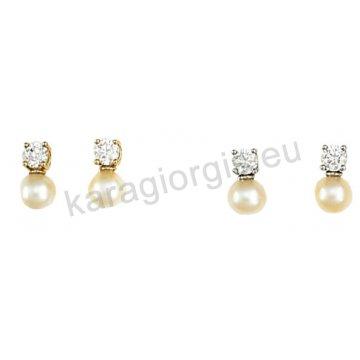 Σκουλαρίκι ημι κρεμαστό χρυσό ή λευκόχρυσο σε μονόπετρο Κ14 με κρεμαστή άσπρη πέρλα.