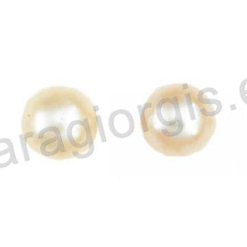 Σκουλαρίκι χρυσό ή λευκόχρυσο σε μονόπετρο Κ14 με άσπρη πέρλα.