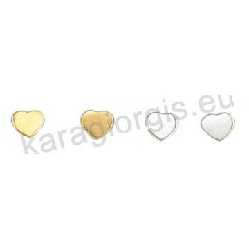 Σκουλαρίκι χρυσό ή λευκόχρυσο Κ14 σε καρδούλα.