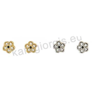 Σκουλαρίκι χρυσό ή λευκόχρυσο Κ14 σε λουλουδάκι με πέτρες ζιργκόν.