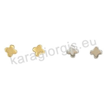 Σκουλαρίκι χρυσό ή λευκόχρυσο Κ14 σε σταυρουδάκι.