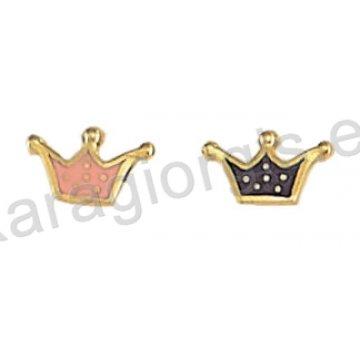 Σκουλαρίκι παιδικό χρυσό Κ14 με κορώνα σε ροζ ή μωβ σμάλτο.