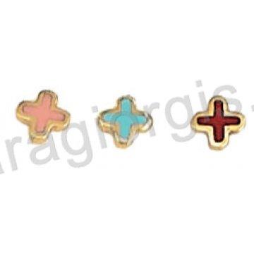 Σκουλαρίκι παιδικό χρυσό Κ14 σε σταυρουδάκι με ροζ ή σιελ σμάλτο.