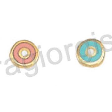 Σκουλαρίκι παιδικό χρυσό Κ14 σε ματάκι με ροζ ή σιελ σμάλτο.
