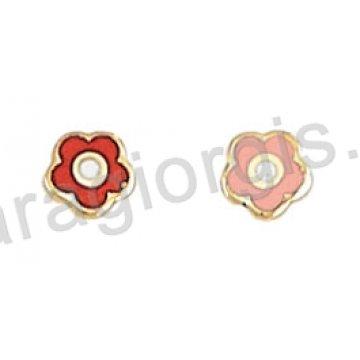 Σκουλαρίκι παιδικό χρυσό Κ14 σε λουλουδάκι με ροζ ή κόκκινο σμάλτο.