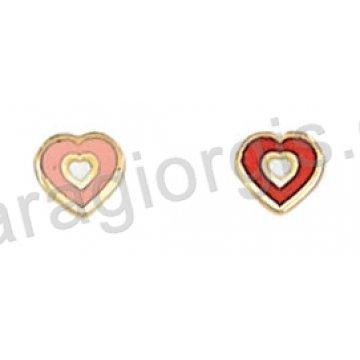 Σκουλαρίκι παιδικό χρυσό Κ14 σε καρδούλα με ροζ ή κόκκινο σμάλτο.