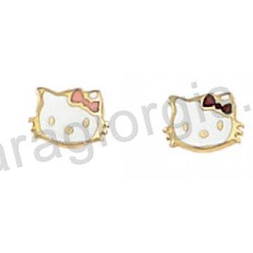 Σκουλαρίκι παιδικό χρυσό Κ14 σε hello kitty με άσπρο σμάλτο.