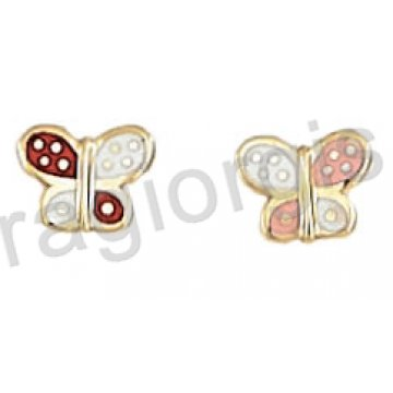 Σκουλαρίκι παιδικό χρυσό Κ14 σε πεταλούδα με ροζ ή κόκκινο σμάλτο.