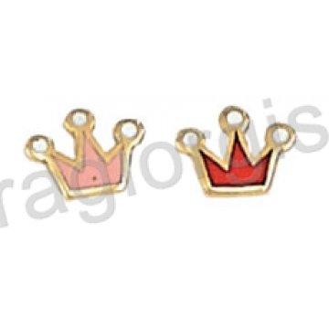 Σκουλαρίκι παιδικό χρυσό Κ14 με κορώνα σε ροζ ή κόκκινο σμάλτο.