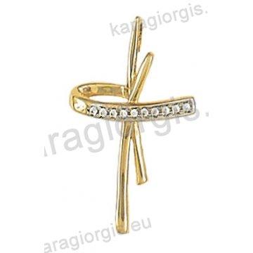 Σταυρός χρυσός σε μοντέρνο σχέδιο Κ14 με άσπρες πέτρες ζιργκόν.