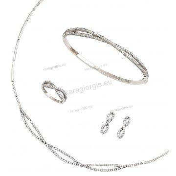 Σετ λευκόχρυσο αρραβώνα-γάμου με κολιέ, σκουλαρίκια, βραχιόλι, δαχτυλίδι με πέτρες ζιργκόν.