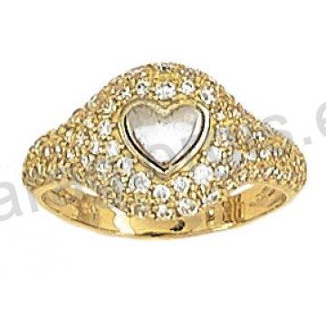 Δαχτυλίδι fashion χρυσό K14 με λευκόχρυση καρδιά σε άσπρες πέτρες ζιργκόν.