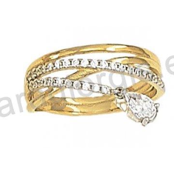 Δαχτυλίδι fashion χρυσό K14 με άσπρες πέτρες ζιργκόν.