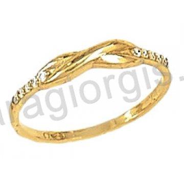 Δαχτυλίδι χρυσό 14 καράτια με άπειρο σε λουστρέ φινίρισμα.