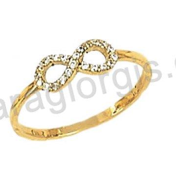 Δαχτυλίδι χρυσό 14 καράτια με άπειρο και άσπρες πέτρες ζιργκόν.