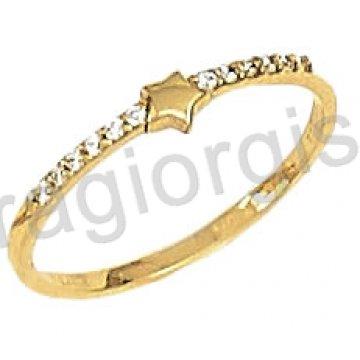 Δαχτυλίδι χρυσό 14 καράτια σε σειρέ με αστεράκι και άσπρες πέτρες ζιργκόν.