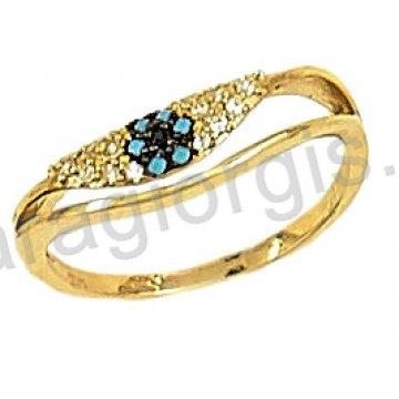 Δαχτυλίδι χρυσό 14 καράτια με άσπρες και σιέλ πέτρες ζιργκόν.