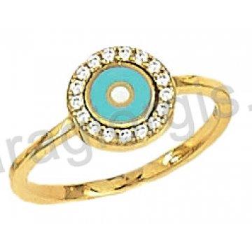 Δαχτυλίδι χρυσό 14 καράτια με ματάκι σε φίλτισι και άσπρες πέτρες ζιργκόν.