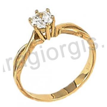 Μονόπετρο χρυσό με κεντρική πέτρα ζιργκόν σε 14 καράτια.