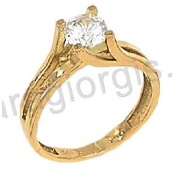 Μονόπετρο χρυσό με κεντρική πέτρα ζιργκόν σε φλόγα 14 καράτια.