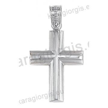 Βαπτιστικός σταυρός λευκόχρυσος για αγόρι σε λουστρέ και ματ φινίρισμα 14 καράτια.