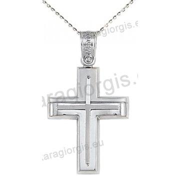 Βαπτιστικός σταυρός με αλυσίδα λευκόχρυσος για αγόρι με ένθετο σταυρό σε λουστρέ και ματ φινίρισμα 14 καράτια.