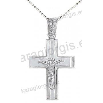 Βαπτιστικός σταυρός με αλυσίδα λευκόχρυσος για αγόρι με ένθετο εσταυρωμένο σε λουστρέ φινίρισμα 14 καράτια.