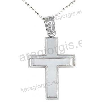Βαπτιστικός σταυρός με αλυσίδα λευκόχρυσος για αγόρι με λουστρέ και ματ φινίρισμα 14 καράτια.
