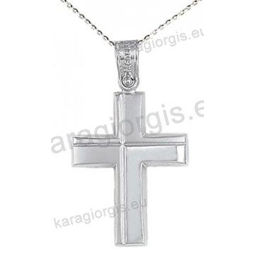 Βαπτιστικός σταυρός με αλυσίδα λευκόχρυσος για αγόρι με ένθετο σταυρό σε λουστρέ φινίρισμα 14 καράτια.