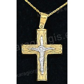 Βαπτιστικός σταυρός με αλυσίδα χρυσός για αγόρι σε σαγρέ φινίρισμα με ένθετο λευκόχρυσο εσταυρωμένο 14 καράτια.