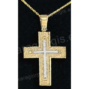 Βαπτιστικός σταυρός με αλυσίδα χρυσός για αγόρι σε σαγρέ φινίρισμα με ένθετο λευκόχρυσο σταυρό 14 καράτια.