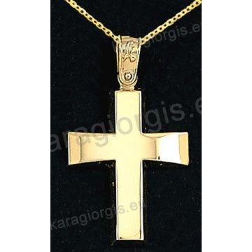 Βαπτιστικός σταυρός με αλυσίδα χρυσός κλασικός για αγόρι σε λουστρέ φινίρισμα 14 καράτια.