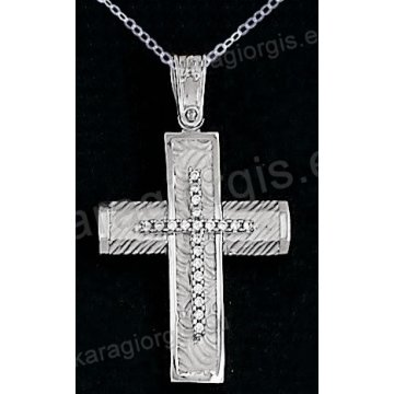 Βαπτιστικός σταυρός λευκόχρυσος για κορίτσι σε σαγρέ φινίρισμα με ένθετο σταυρό σε 14 καράτια με πέτρες ζιργκόν.